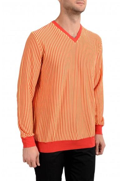 Kiton Napoli Men's Striped V-Neck Pullover Sweater: Picture 2