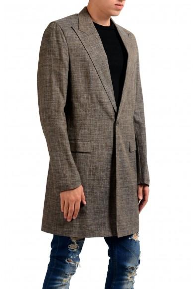 Maison Margiela 10 Men's Wool Silk Linen Brown Blazer Coat : Picture 2