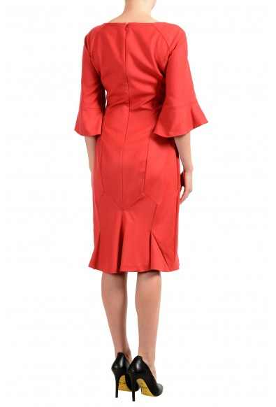 John Galliano Women's Coral Red Wool 3/4 Sleeve Flare Dress: Picture 2