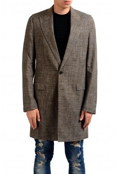 Maison Margiela 10 Men's Wool Silk Linen Brown Blazer Coat