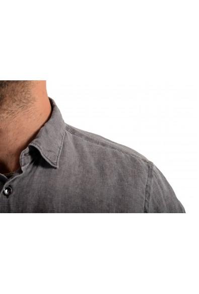 Malo Men's 100% Linen Gray Long Sleeve Dress Shirt: Picture 2