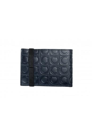 Salvatore Ferragamo Men's 100% Textured Leather Blue Logo Print Bifold Wallet: Picture 2