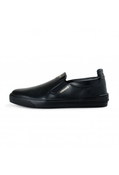 Versace Men's Black Leather Slip On Moccasins Loafer Shoes: Picture 2