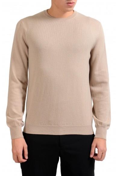 Malo Men's Crewneck Beige 100% Cashmere Pullover Sweater