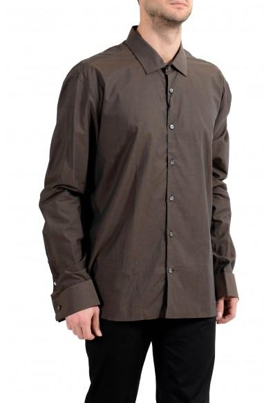 John Varvatos Trim Fit Brown Long Sleeve Men's Dress Shirt
