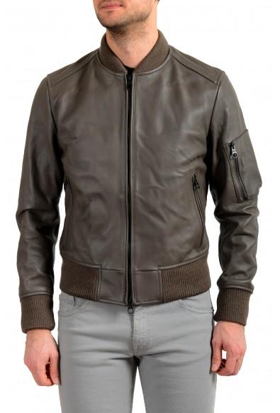 "Hugo Boss Men's ""Naitro"" 100% Leather Gray Bomber Jacket"