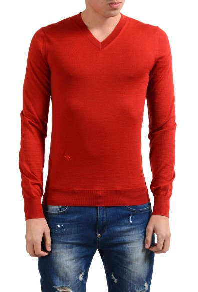 Christian Dior Men's 100% Wool Red V-Neck Sweater