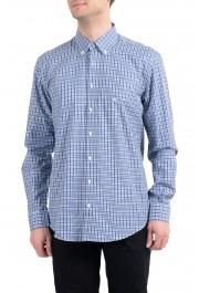 Etro Men's Blue & White Plaid Long Sleeve Dress Shirt
