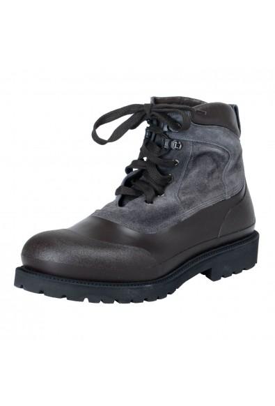 """Salvatore Ferragamo """"Forest"""" Men's Two Tones Lace Up Ankle Rainboots Shoes"""