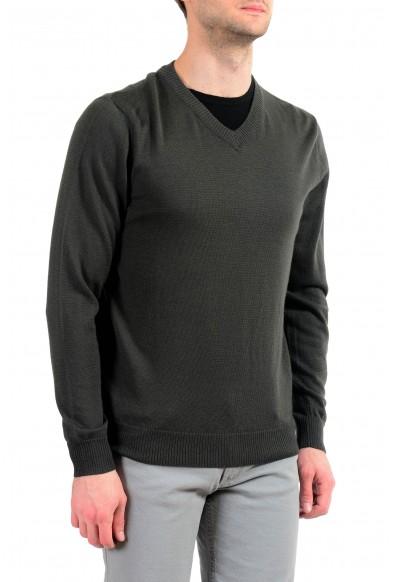 """Emporio Armani EA7 """"Ski"""" Men's Dark Green 100% Wool V-Neck Sweater: Picture 2"""