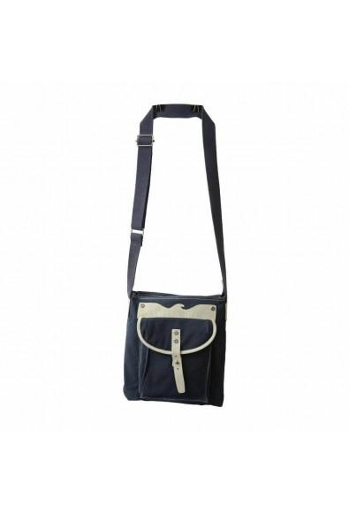 Armani Jeans Unisex Blue Leather Trimmed Cross Body Messenger Bag