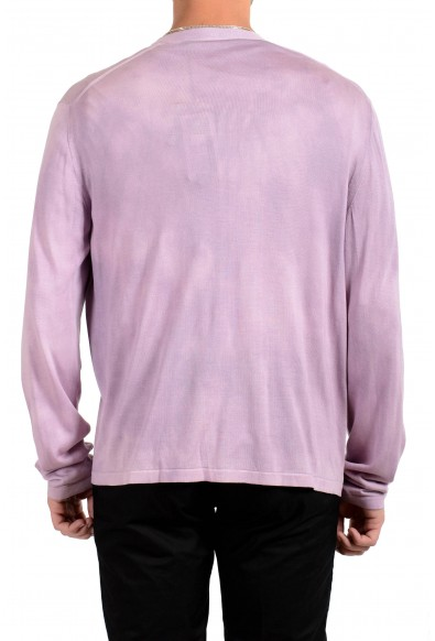 Versace Men's 100% Silk Purple Cardigan Pullover Sweater: Picture 2
