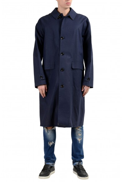 "Hugo Boss ""Garris"" Men's Navy Blue Relaxed Fit Coated Trench Coat"