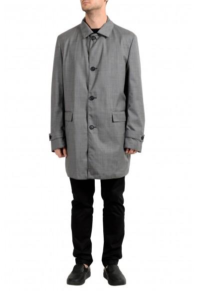 """Hugo Boss Men's """"Dylan2"""" Blue & Gray Reversible Trench Coat"""