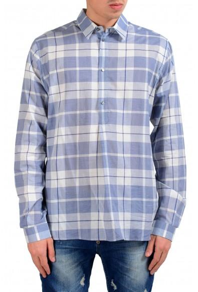 Dolce & Gabbana Men's 1/2 Button Plaid Dress Shirt