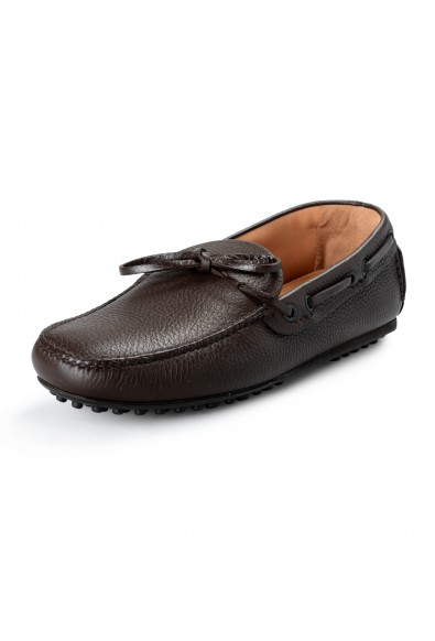 Car Shoe By Prada Men's Brown Textured Leather Driving Shoes