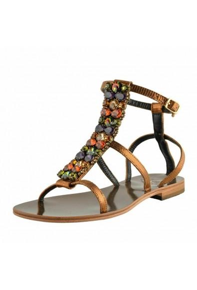 "Emanuela Caruso ""Capri"" Women's Stone Decorated Flat Sandals Shoes"