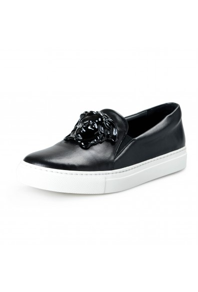 Versace Women's Black Leather Medusa Loafers Slip On Shoes