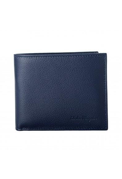 Salvatore Ferragamo Men's Dark Blue 100% Pebbled Leather Bifold Wallet