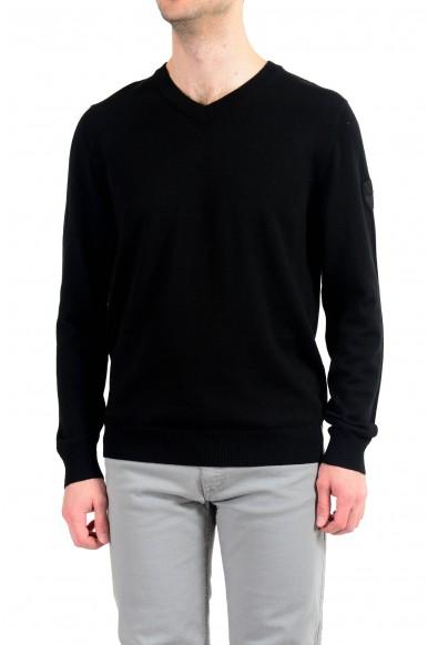 "Emporio Armani EA7 ""Ski"" Men's 100% Wool Black V-Neck Sweater"