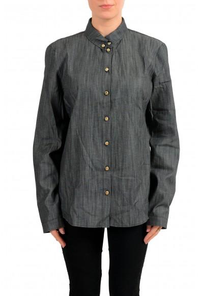 Versace Jeans Gray Button Down Denim Women's Shirt