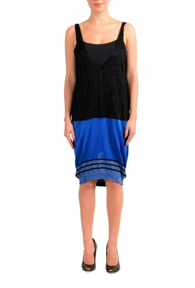 Just Cavalli Women's Black Deep V-Neck Sleeveless Knitted Dress