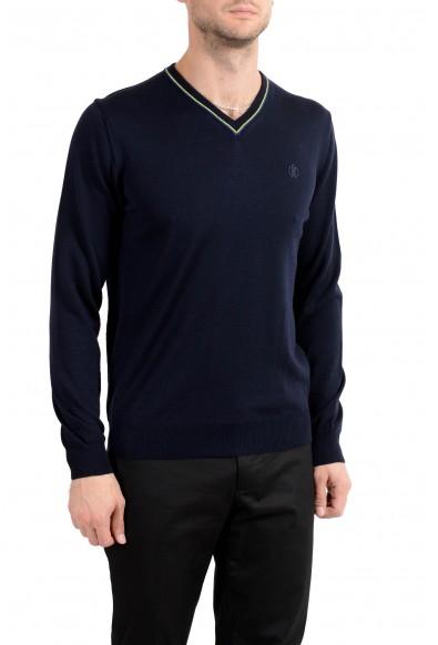 Roberto Cavalli Men's 100% Wool Dark Blue V-Neck Sweater: Picture 2