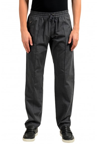 Dolce & Gabbana Men's Gray Striped Elastic Waist Casual Pants