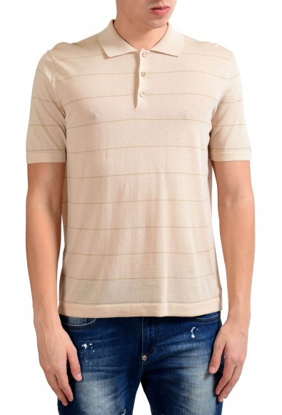 Malo Men's Beige Striped Knitted Short Sleeve Polo Shirt