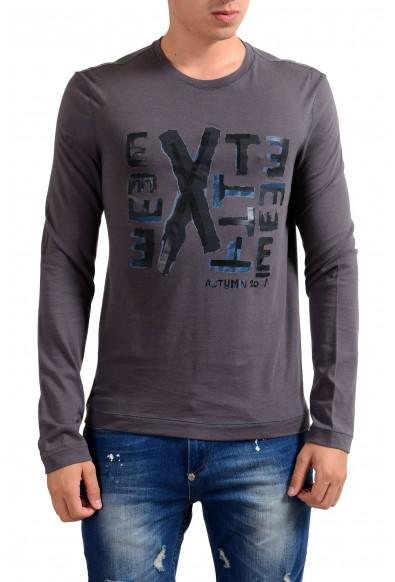Exte Men's Gray Graphic Print Crewneck Long Sleeve T-Shirt