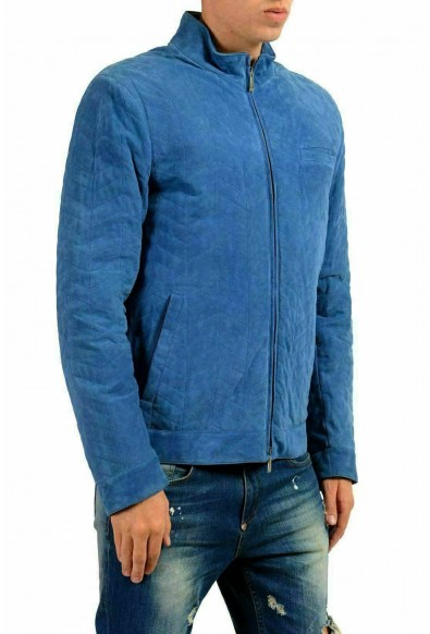 Malo Men's 100% Suede Leather Blue Full Zip Jacket: Picture 2