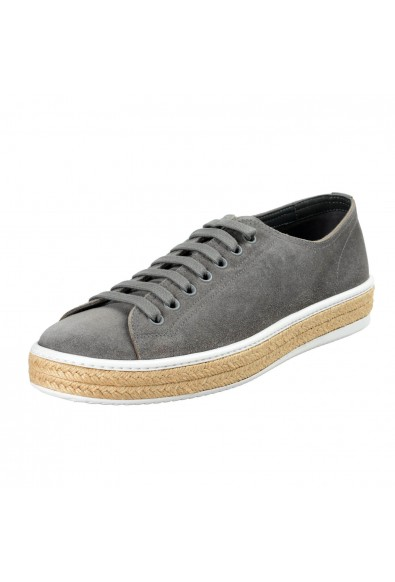Prada Men's Gray Suede Leather Fashion Sneakers Shoes
