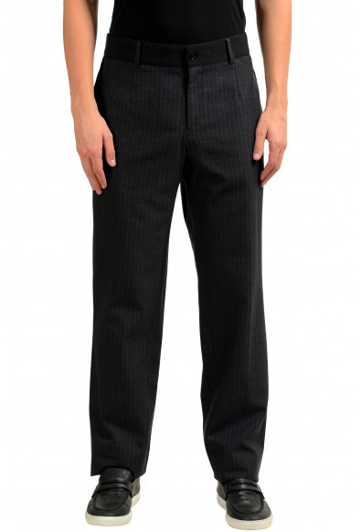 Dolce & Gabbana Men's Wool Silk Dress Striped Pants