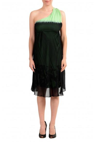 GF Ferre Women's Black & Green Silk One Shoulder Dress