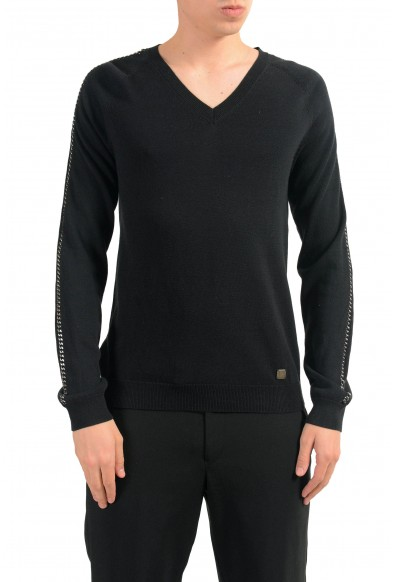 Versace Collection Men's Black V-Neck Chain Trimmed Sweater