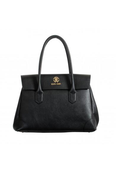 Roberto Cavalli Women's Black Textured Leather Shoulder Handbag Satchel Bag