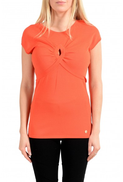 Versace Collection Women's Orange Stretch Blouse Top