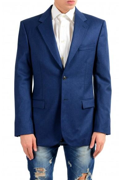 Versace Men's Cashmere Wool Blue Two Button Blazer Sport Coat