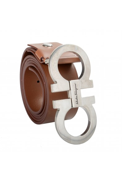 Salvatore Ferragamo Men's Brown 100% Leather Buckle Decorated Belt