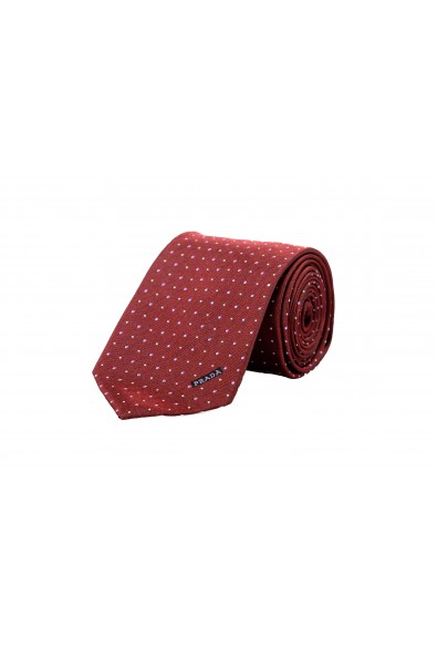 Prada Men's UCR77 Burgundy Geometric Print 100% Silk Tie
