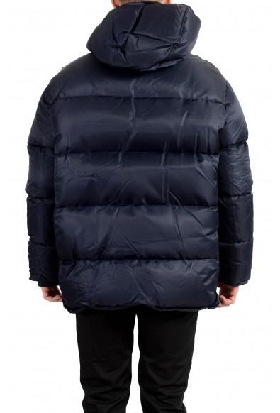 Versace Men's Dark Blue Distressed Hooded Full Zip Parka Jacket: Picture 2