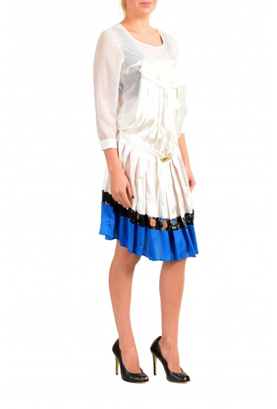 Just Cavalli Women's 100% Silk Pleated Long Sleeve Belted Dress: Picture 2