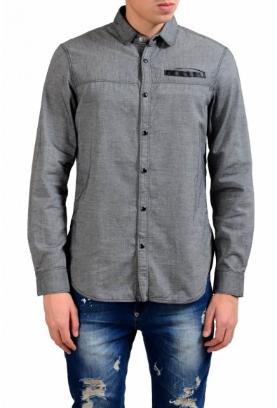 Just Cavalli Men's Gray Button Front Casual Shirt