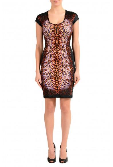 Just Cavalli Black Graphic Cap Sleeeve Women's Stretch Sheath Dress