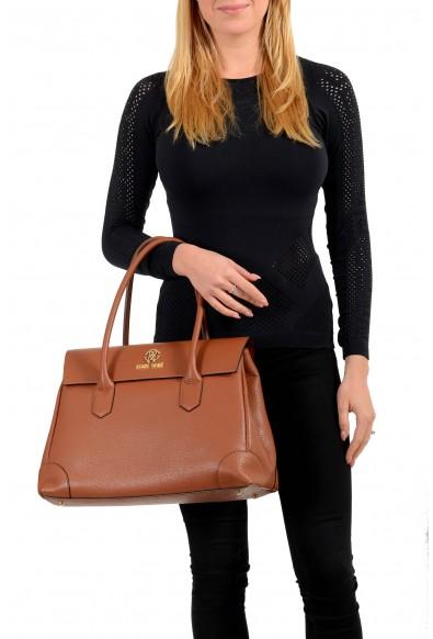 Roberto Cavalli Women's Brown Textured Leather Shoulder Handbag Satchel Bag: Picture 2