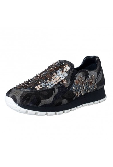 Prada Women's Sequin Decorated Moccasins Loafers Slip On Shoes