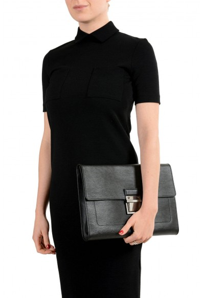 Versace Women's Black Textured Leather Clutch Bag: Picture 2