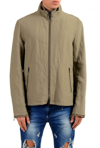 John Varvatos Men's Gray Full Zip Windbreaker Jacket
