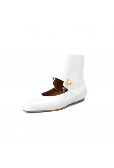 Marni Women's White Textured Leather Flats Ankle Boots Shoes