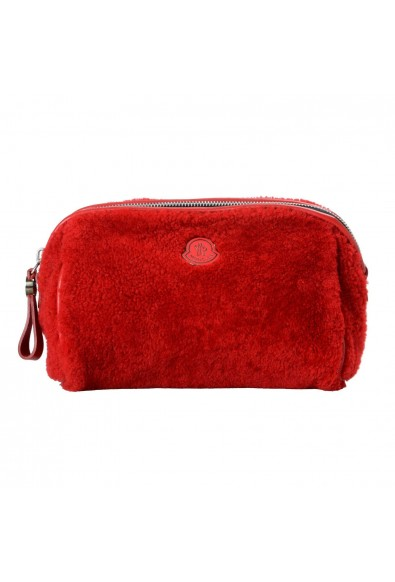 """Moncler """"Beauty Grande"""" Red Leather Trim Women's Cosmetic Bag"""